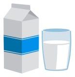 Paquete y vidrio de la leche Imagen de archivo libre de regalías