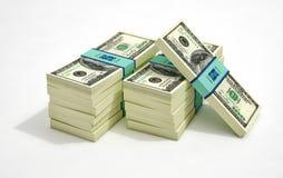 Paquetes de 100 billetes de banco del dólar Fotos de archivo libres de regalías
