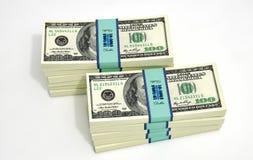 Paquetes de 100 billetes de banco del dólar Imagen de archivo