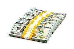 Paquetes de 100 dólares de EE. UU. 2013 cuentas de los billetes de banco Fotografía de archivo