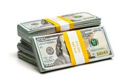 Paquetes de 100 dólares de EE. UU. de billetes de banco 2013 de la edición Imágenes de archivo libres de regalías