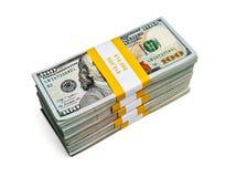 Paquetes de 100 dólares de EE. UU. de billetes de banco 2013 de la edición Fotografía de archivo