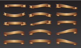 Paquetes de la bandera de la cinta del oro Fotografía de archivo libre de regalías