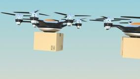 Paquetes de la cartulina de la entrega de los abejones de Hexacopter en la formación libre illustration