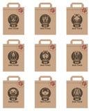 Paquetes de la comida de perro fijados Fotografía de archivo