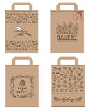 Paquetes de la panadería fijados Foto de archivo