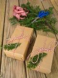 Paquetes de la secuencia y del papel marrón con la decoración de la conífera, ri del control Imagen de archivo