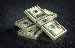 100 paquetes del billete de banco del dólar en piso veteado Foto de archivo