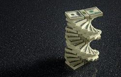 100 paquetes del billete de banco del dólar en piso veteado Fotos de archivo