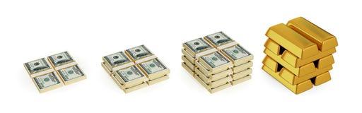Paquetes del dólar y barras de oro. Imagenes de archivo