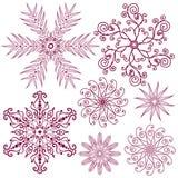 Paquetes del vector de los copos de nieve Fotos de archivo