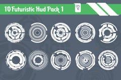 10 paquetes futuristas del vector de HUD Elements Technology Hi Tech ilustración del vector