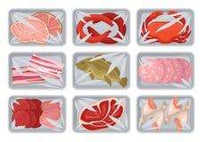 Paquets avec la viande fraîche, fruits de mer, ensemble de poulet, conteneurs en plastique de plateaux de nourriture avec le vect illustration stock