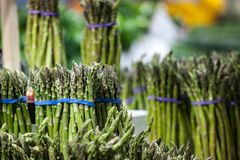 Paquets d'asperge verte, cultiv?s, en vente sur un march? canadien ? Montr?al photo stock