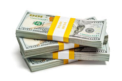 Paquets de 100 billets de banque 2013 d'édition de dollars US Image stock