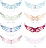 8 paquets de Gem Stones Angel Wings Vector Photos libres de droits
