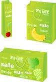 Paquets de papier avec la conception de vente de fruit Photographie stock