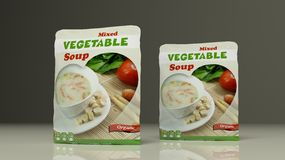 Paquets de potage aux légumes illustration 3D Images stock