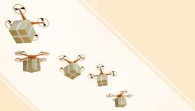 Paquets de quadcopter de bourdon et transporté dans des achats en ligne de logistique de pointe sur le fond jaune en pastel de co illustration libre de droits