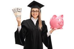 Paquets et tirelire d'argent de wilth d'étudiant de troisième cycle Photo stock