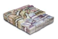 Paquets ukrainiens d'argent empilés Images libres de droits