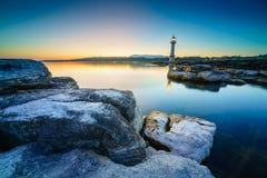 Paquis Lighthouse, Geneva, Switzerland Stock Image