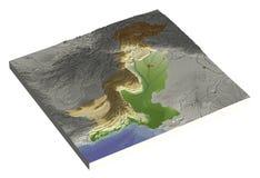 Paquistão, mapa de relevo 3D Fotos de Stock
