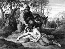 Parábola del buen samaritano stock de ilustración