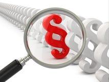 Parágrafo da busca. Lupa e símbolo da lei. Fotos de Stock Royalty Free