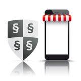 Parágrafo vermelho do protetor da proteção da loja do toldo de Smartphone ilustração do vetor