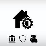 Parâmetros do ajuste, ícone da casa, ilustração do vetor Projeto liso Fotos de Stock