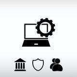 Parâmetros do ajuste, ícone do portátil, ilustração do vetor Desig liso Fotos de Stock Royalty Free