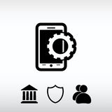 Parâmetros do ajuste, ícone móvel do smartphone, ilustração do vetor Imagens de Stock Royalty Free