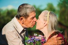 parę miłości senior szczęśliwy Park outdoors zdjęcie royalty free