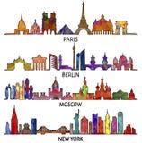 París, Berlín, Moscú y Nueva York, diseño triangular stock de ilustración