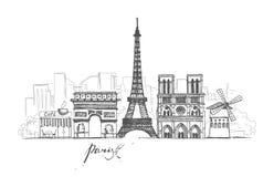 París bosqueja la colección Paisaje urbano abstracto con las señales ilustración del vector