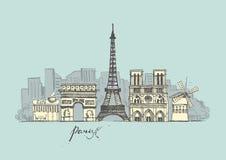 París bosqueja la colección Paisaje urbano abstracto con las señales libre illustration