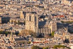 París con la catedral de Notre Dame en Francia fotos de archivo