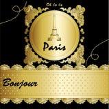 París con las letras y el dibujo de la torre Eiffel Fotografía de archivo libre de regalías