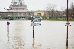 PARÍS - 25 DE ENERO: Inundación de París con extremadamente el apogeo el 25 de enero de 2018 en París Foto de archivo