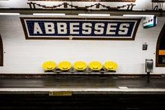 París, estación de metro de las abadesas Fotografía de archivo