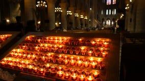 París, Francia - 5 de abril de 2019: Interior del Notre Dame de Paris La catedral de Notre Dame es una del top almacen de metraje de vídeo