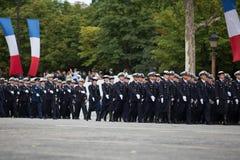 París, Francia - 14 de julio de 2012 Los soldados de la legión extranjera francesa marchan durante el desfile militar anual Fotografía de archivo libre de regalías