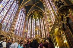 París, Francia - 14 de mayo de 2015: Visita Sainte Chapelle de los turistas en París, Francia Fotografía de archivo libre de regalías