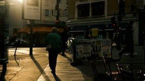 PARÍS, FRANCIA - 11 de octubre de 2017 - opinión de la ciudad de la cámara lenta sobre la gente que camina adentro en el centro d metrajes