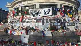 París, Francia 12 12 2015 Place de la République, después de Paris'attacks en noviembre de 2015 Fotos de archivo