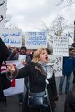 París, Francia, protesta egipcia de los manifestantes Foto de archivo libre de regalías