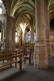París - interior de la iglesia gótica de Severin del santo Fotografía de archivo