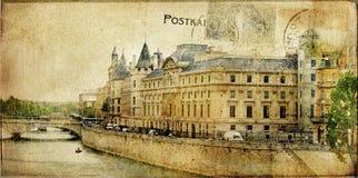 París - tarjeta retra Foto de archivo libre de regalías