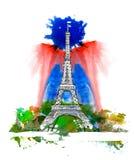 París, torre Eiffel Bosquejo y watercolour stock de ilustración